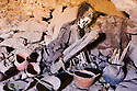 Bolivia, female mummy in cave at Volcano Tunupa, Altiplano, Salar de Uyuni, Bolivia