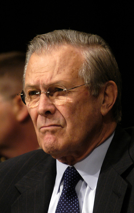 Defense Secretary Donald Rumsfeld testifying at Senate Armed Services Committee Defense Authorization hearing on the FY2007 Defense Department budget and the Future Years Defense Program..