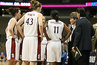 20 March 2006: Head coach Tara Vanderveer, Candice Wiggins, Kristen Newlin and Jillian Harmon during Stanford's 88-70 win over Florida State in the second round of the NCAA Women's Basketball championships at the Pepsi Center in Denver, CO.