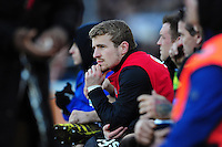 Jonathan Evans of Bath Rugby looks on from the bench. Aviva Premiership match, between Bath Rugby and London Irish on March 5, 2016 at the Recreation Ground in Bath, England. Photo by: Patrick Khachfe / Onside Images