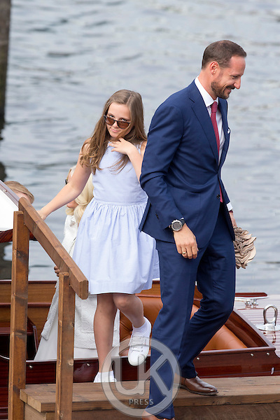 TRONDHEIM, NORWAY - JUNE 23:  Crown Prince Haakon of Norway, and his daughter Princess Ingrid Alexandra of Norway, on a visit to Trondheim, during the King and Queen of Norway's Silver Jubilee Tour, on June 23, 2016 in Trondheim, Norway.