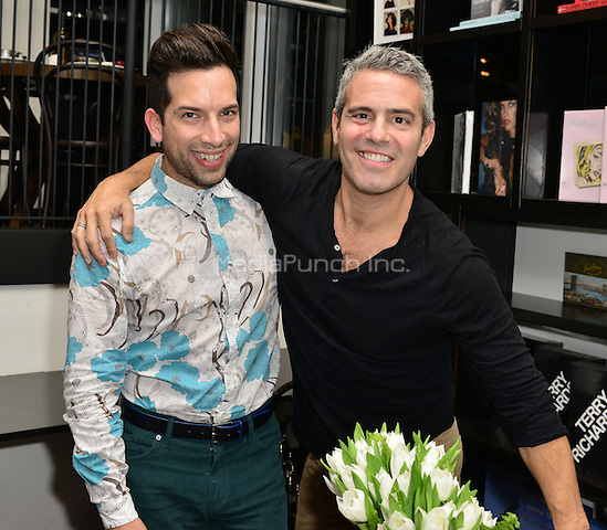 MIAMI, FL - NOVEMBER 06: Andy Cohen (R) and Gino Campodonico pose picture during Andy Cohen book signing of his paperback release 'The Andy Cohen Diaries: A Deep Look at a Shallow Year' at Books and Books At Adrienne Arsht Center on November 6, 2015 in Miami, Florida. Credit: MPI10 / MediaPunch