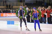 SCHAATSEN: HEERENVEEN: 24-01-2016, IJsstadion Thialf, NK Allround, Antoinette de Jong, Jan Blokhuijsen, ©foto Martin de Jong