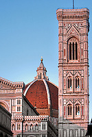 Bell tower, Cathedral Santa Maria del Fiore, Florence, Italy , also known as the Duomo, begun in 1296 by Arnolfo di CAMBIO, dome by Filippo BRUNELLESCHI, 1377-1446, completed in 1436, Bell Tower designed by GIOTTO, 1267-1337 pictured on June 10 2007.