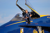 The Crew Chief for Blue Angel #2 tends to post flight details after the teams aerial demonstration at the First Annual California Capital Airshow at Mather Airport, formerly Mather Air Force Base, outside of Sacramento, California. Photographed 03/06