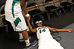01 APRIL 2012:  Devereaux Peters (14) of he University of Notre Dame collapses of exhausting in the locker room after defeating the University of Connecticut during the Division I Women's Final Four Semifinals at the Pepsi Center in Denver, CO.  Notre Dame defeated UCONN 83-75 to advance to the national championship game.  Jamie Schwaberow/NCAA Photos