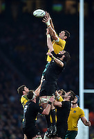 Rob Simmons of Australia competes with Sam Whitelock of New Zealand for the ball at a lineout. Rugby World Cup Final between New Zealand and Australia on October 31, 2015 at Twickenham Stadium in London, England. Photo by: Patrick Khachfe / Onside Images