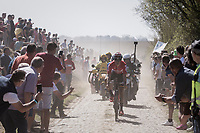 Jelle Wallays (BEL/Lotto-Soudal) leading the race over the first cobbled sectors<br /> <br /> 115th Paris-Roubaix 2017 (1.UWT)<br /> One Day Race: Compi&egrave;gne &rsaquo; Roubaix (257km)