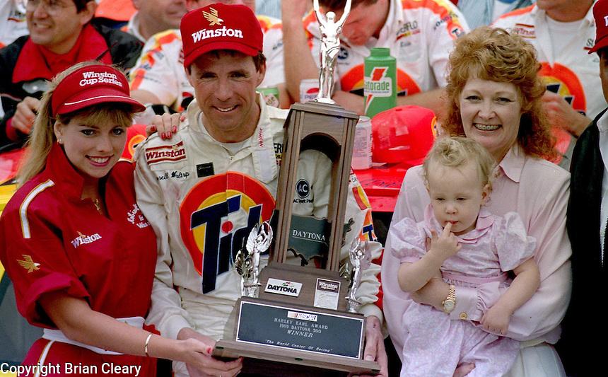 Darrell Waltrip Stephie Waltrip Jessica Waltrip victory lane Daytona 500 at Daytona International Speedway on February 19, 1989.  (Photo by Brian Cleary/www.bcpix.xom)