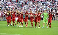 FUSSBALL   1. BUNDESLIGA  SAISON 2011/2012   5. Spieltag FC Bayern Muenchen - SC Freiburg         10.09.2011 FC Bayern Muenchen Jubel nach dem Sieg
