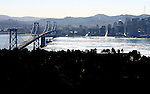 October 16, 2005; San Francisco, CA, USA; Aerial view of the San Francisco/Oakland Bay Bridge and downtown San Francisco. Photo by: Phillip Carter