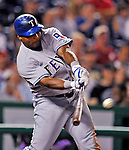 21 June 2008: Texas Rangers' right fielder Marlon Byrd connects in the 8th inning against the Washington Nationals at Nationals Park in Washington, DC. The Rangers defeated the Nationals 13-3 in the second game of their 3-game inter-league series...Mandatory Photo Credit: Ed Wolfstein Photo