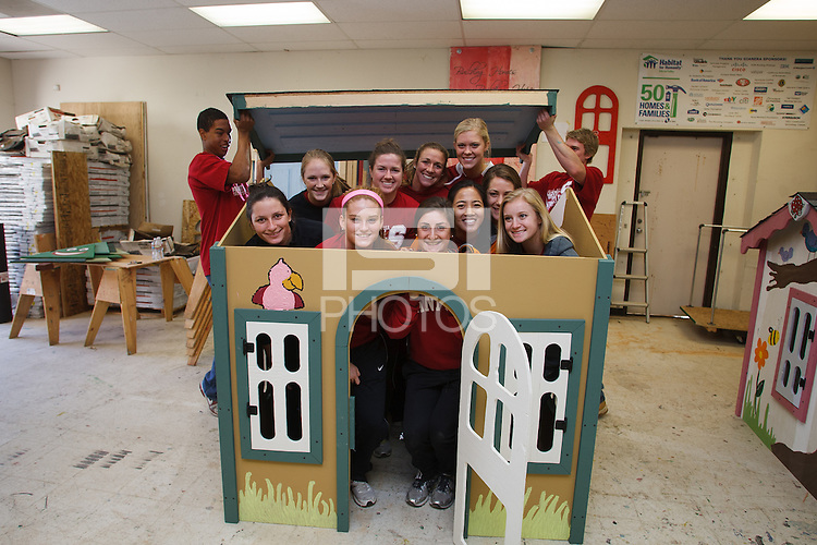 MILPITAS, CA -- January 19, 2013: Members of Stanford Athletics teams worked together Saturday, Jan. 19 building play houses for Habitat for Humanity to donate to local families and organizations in need. Athletes constructed, assembled and decorated the houses and met recipients at the end of the project.