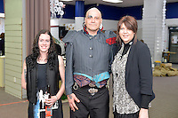 from left, Melanie Child, David Roil and Denise Anglesey, New Zealand Eco Fashion Exposed Opening Function at 151 High Street, Lower Hutt, New Zealand on Wednesday 23 July 2014. <br /> Photo by Masanori Udagawa. <br /> www.photowellington.photoshelter.com.