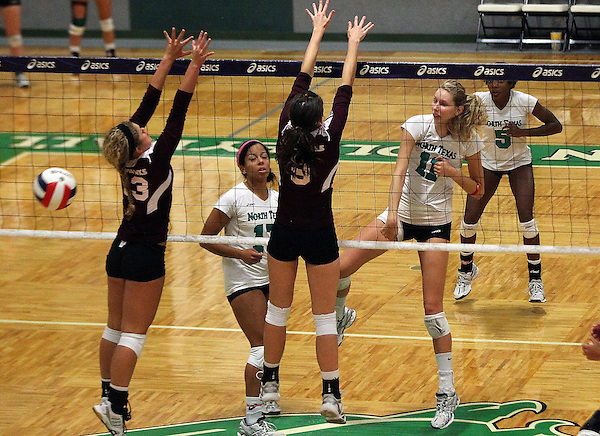 Denton, TX - SEPTEMBER 23: Courtney Windham #11 of the University of North Texas Mean Green Volleyball in action against the University of Louisiana at Monroe at University of North Texas Volleyball Complex in Denton on September 23, 2012 in Denton, Texas. (Photo by Rick Yeatts)