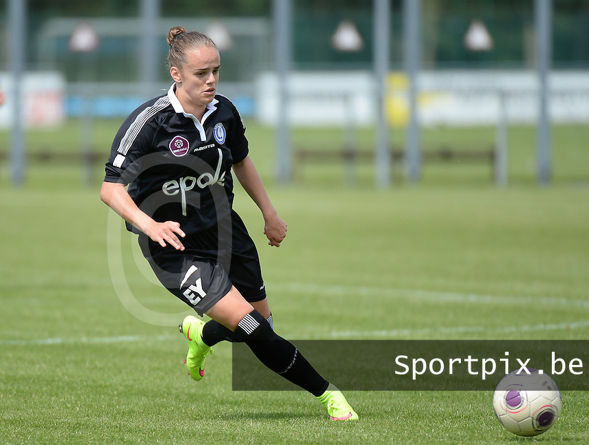 20150801 - WESTKAPELLE , BELGIUM : Gent's Amber Maximus pictured during a friendly soccer match with the women team of AA Gent Ladies , during the preparation for the 2015-2016 SUPERLEAGUE season, Saturday 1 August 2015 . PHOTO DAVID CATRY