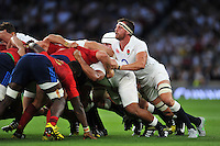 Tom Wood of England in action at a scrum. QBE International match between England and France on August 15, 2015 at Twickenham Stadium in London, England. Photo by: Patrick Khachfe / Onside Images