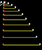 Stroboscopic photograph of two balls. One ball is released from rest at the same instant that another ball is shot horizontally to the right. Their vertical motions are identical.