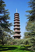 The Great Pagoda, by Sir William Chambers, was erected in 1762, in the Royal Botanic Gardens of Kew in London, England.