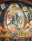 Romanesque frescoes depicting Christ Pantocrator from the Church of Sant Miguel d'Engolasters, Les Escaldes, Andorra.. Painted around 1160. National Art Museum of Catalonia, Barcelona. MNAC 15972