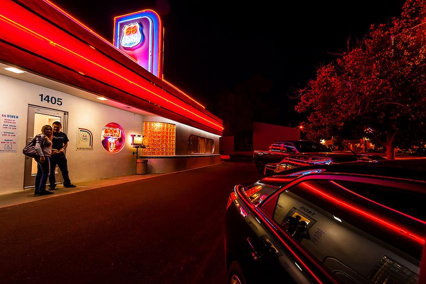 66 Diner, Central Avenue (Historic Route 66), Albuquerque, New Mexico USA.