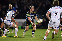 Jonathan Evans of Bath Rugby passes the ball. West Country Challenge Cup match, between Bath Rugby and Exeter Chiefs on October 10, 2015 at the Recreation Ground in Bath, England. Photo by: Patrick Khachfe / Onside Images