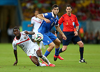 Joel Campbell of Costa Rica and Konstantinos Manolas of Greece in action