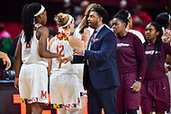 College Park, MD - NOV 16, 2016: Maryland Eastern Shore Lady Hawks head coach Fred Batchelor shakes hands after the game between Maryland and Maryland Eastern Shore Lady Hawks at XFINITY Center in College Park, MD. The Terps defeated the Lady Hawks 106-61. (Photo by Phil Peters/Media Images International)