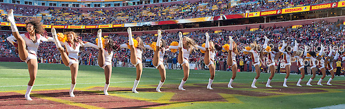 Washington Redskins cheerleaders perform during a break in the action for the two minute warning in the fourth quarter of the game against the Tennessee Titans at FedEx Field in Landover, Maryland on Sunday, October 19, 2014.  The Redskins won the game 19 - 17.<br /> Credit: Ron Sachs / CNP