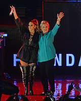 MIAMI FL - OCTOBER 29: Jennifer Lopez and Hillary Clinton on stage at the Jennifer Lopez Gets Loud for Hillary Clinton at GOTV Concert at The Bayfront Park Amphitheatre on October 29, 2016 in Miami, Florida. Credit: mpi04/MediaPunch