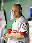27 September 2010: Philadelphia Phillies' infielder Placido Polanco stands in the dugout during a game against the Washington Nationals at Nationals Park in Washington, DC. Mandatory Credit: Ed Wolfstein Photo