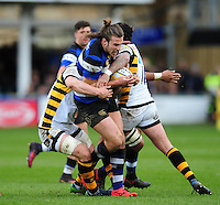 Max Clark of Bath Rugby takes on the Wasps defence. Aviva Premiership match, between Bath Rugby and Wasps on March 4, 2017 at the Recreation Ground in Bath, England. Photo by: Patrick Khachfe / Onside Images