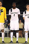 05 September 2014: Wake Forest's Kris Reaves. The Wake Forest University Demon Deacons hosted the University of Connecticut Huskies at W. Dennie Spry Soccer Stadium in Winston-Salem, North Carolina in a 2014 NCAA Division I Men's Soccer match. Wake Forest won the game 2-1 in sudden death overtime.
