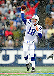 3 January 2010: Indianapolis Colts' quarterback Peyton Manning in action against the Buffalo Bills on a cold, snowy, final game of the season at Ralph Wilson Stadium in Orchard Park, New York. The Bills defeated the Colts 30-7. Mandatory Credit: Ed Wolfstein Photo