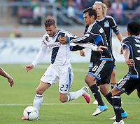 Stanford, California - Saturday June 30, 2012: David Beckham and Chris Wondolowski in action at Stanford Stadium, Stanford, Ca.San Jose Earthquakes defeated Los Angeles Galaxy,  4 to 3
