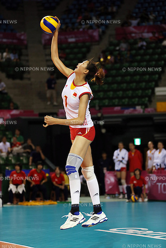 Yuan Xinyue (CHN),<br /> AUGUST 24, 2014 - Volleyball : FIVB World Grand Prix 2014 final round match between China 2-3 Russia at  Ariake Coliseum, Tokyo, Japan. (Photo by AFLO SPORT)