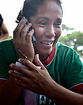 Sonia Elizabeth Paz migrated north from her home in Honduras but later lost contact with her family back home. On December 17, 2013, she was discovered in Puerto Madero by a group of Central American mothers who'd come to Mexico to search for loved ones who had disappeared on the migrant trail north. Here she talks by phone to a sister back home in Honduras after being found.
