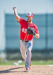 25 February 2016: Washington Nationals pitcher Nick Masset throws during the first full squad Spring Training workout at Space Coast Stadium in Viera, Florida. Mandatory Credit: Ed Wolfstein Photo *** RAW (NEF) Image File Available ***