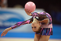 Yana Lukonina of Russia (junior) performs flexibility during ball event final at 2008 European Championships at Torino, Italy on June 7, 2008.  Photo by Tom Theobald.