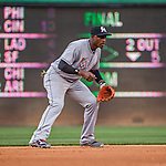 7 April 2016: Miami Marlins infielder Adeiny Hechavarria in action during the Washington Nationals Home Opening Game at Nationals Park in Washington, DC. The Marlins defeated the Nationals 6-4 in their first meeting of the 2016 MLB season. Mandatory Credit: Ed Wolfstein Photo *** RAW (NEF) Image File Available ***