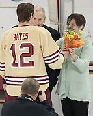 Kevin Hayes (BC - 12), Kevin Hayes, Shelagh Hayes - The visiting University of Notre Dame Fighting Irish defeated the Boston College Eagles 2-1 in overtime on Saturday, March 1, 2014, at Kelley Rink in Conte Forum in Chestnut Hill, Massachusetts.