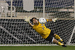 13 November 2009: Wake Forest's Akira Fitzgerald (1) dives the right way but fails to stop this penalty kick shootout goal by Virginia's Neil Barlow (not pictured). The University of Virginia Cavaliers defeated the Wake Forest University Demon Deacons 4-3 on penalty kicks after the game ended in a 0-0 tie after overtime at WakeMed Stadium in Cary, North Carolina in an Atlantic Coast Conference Men's Soccer Tournament Semifinal game.