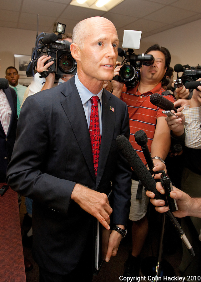 TALLAHASSEE, FLA. 6/17/10-Rick Scott, republican gubernatorial hopeful, is talks with the media after he filed the paperwork to make his candidacy official Thursday in Tallahassee...COLIN HACKLEY PHOTO