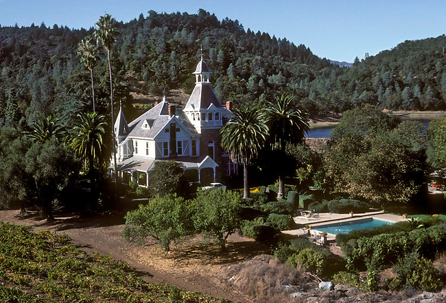 "Offices of Spring Mountain Winery, also center of television program ""Falcon Crest."""