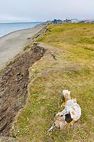 Coastal erosion along the shores of the Arctic ocean in Barrow, Alaska.