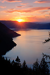 Idaho,North, Clark Fork. Sunset over Lake Pend Oreille from a view point in the Coeur d'Alene Mountains.