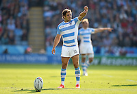Nicolas Sanchez of Argentina shields his eyes from the sun as he prepares to kick a conversion. Rugby World Cup Pool C match between Argentina and Tonga on October 4, 2015 at Leicester City Stadium in Leicester, England. Photo by: Patrick Khachfe / Onside Images