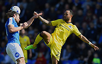 Bristol Rovers' Byron Moore (R) battles with Peterborough United's Michael Bostwick (L)<br /> <br /> Peterborough 4 - 2 Bristol Rovers<br /> <br /> Photographer David Horton/CameraSport<br /> <br /> The EFL Sky Bet League One - Peterborough v Bristol Rovers - Saturday 22nd April 2017 - ABAX Stadium - Peterborough <br /> <br /> World Copyright &copy; 2017 CameraSport. All rights reserved. 43 Linden Ave. Countesthorpe. Leicester. England. LE8 5PG - Tel: +44 (0) 116 277 4147 - admin@camerasport.com - www.camerasport.com