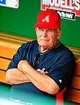 3 July 2009: Atlanta Braves Manager Bobby Cox sits in the dugout prior to facing the Washington Nationals at Nationals Park in Washington, DC. The Braves defeated the Nationals 9-8 to take the first game of the 3-game weekend series. Mandatory Credit: Ed Wolfstein Photo