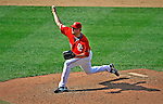 17 August 2008: Washington Nationals' pitcher Joel Hanrahan on the mound in relief against the Colorado Rockies at Nationals Park in Washington, DC. The Rockies defeated the Nationals 7-2, sweeping the 3-game series, and handing the last place Nationals their 10th consecutive loss. ..Mandatory Photo Credit: Ed Wolfstein Photo